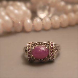 A PRECIOUS PINK RUBY RING EMBELLISHED W/ SMALL PINK SAPPHIRES 925 SILVER